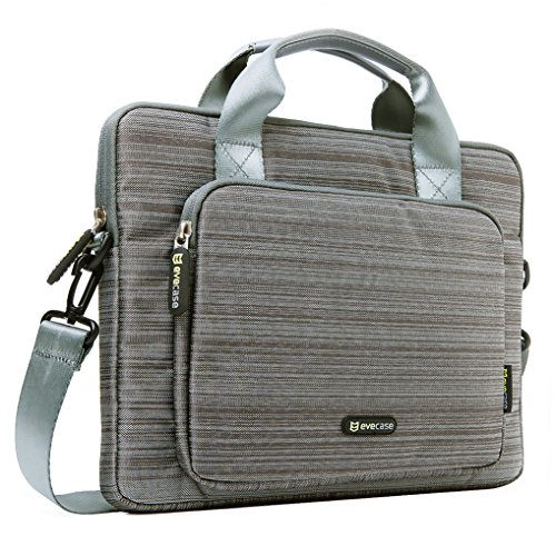 Evecase 13'' 13.3-Inch Notebook Chromebook Laptop Ultrabook Suit Fabric Briefcase Messenger Bag Travel Carrying Case with Handles and Strap - Gray (Laptop Bag With Handle)