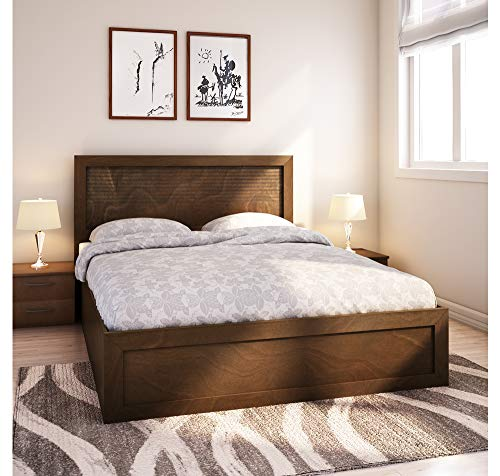 @home By Nilkamal Wood MDF Melamine Finish Bed with Storage  Queen, Light Oak