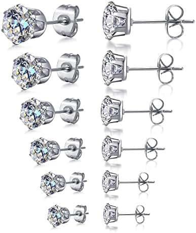 Areke Women's Stainless Steel Round Clear Cubic Zirconia Diamond Rhinestone Stud Earring (6 Pairs)