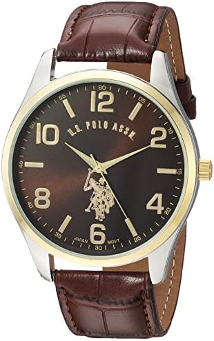 U.S. Polo Assn. Classic Men s USC50225 Watch with Brown Faux-Leather Strap