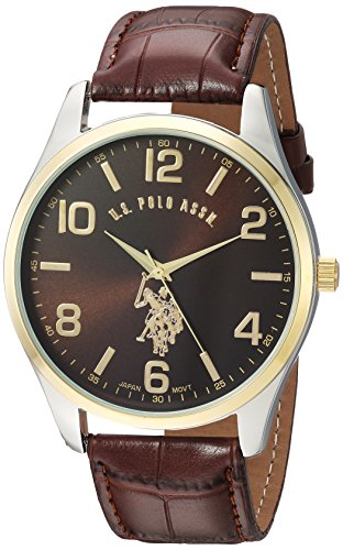 U.S. Polo Assn. Classic Men's USC50225 Watch with Brown Faux-Leather - Watch Big Polo