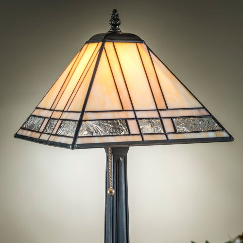 J Devlin Lam 380-2 TB Tiffany Stained Glass Mission Table Lamp Ivory and Amber Opalescent Accent (Ivory Stained Glass Table Lamp)