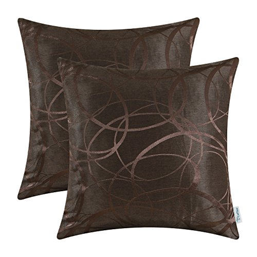 Pack of 2 CaliTime Cushion Covers Throw Pillow Cases Shells Both Sides, Modern Circles Rings Geometric, 18 X 18 Inches, Coffee (Black And Brown Throw Pillows)