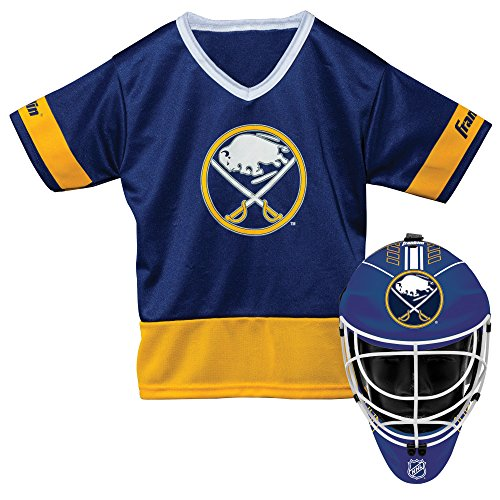 Franklin Sports Buffalo Sabres Kid's Hockey Costume Set - Youth Jersey & Goalie Mask - Halloween Fan Outfit - NHL Official Licensed -