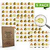 All Prime Reusable Beeswax Food Wrap 5 Pack - 2 Small, 2 Medium, 1 Large Beeswax Food Wraps - Eco Friendly Beeswax Wraps for your Kitchen - Eco Food Wrap - Kind to the Environment