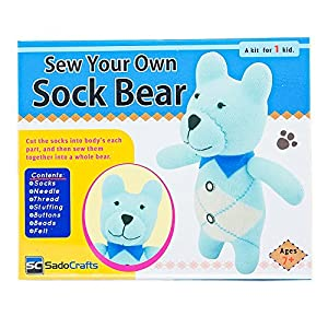 SadoCrafts Sew Your Own Sock Doll Sewing Kit – Sew Stuff Models for Bear, Cow, Dog, or Owl