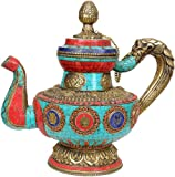 Buddhist Monastery Kettle - Brass and Copper with Inlay