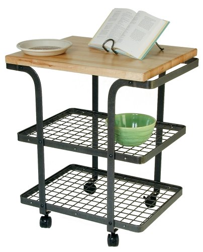 Enclume Small Baker's Cart with Maple Butcher Block Top, Hammered Steel ()