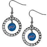 Siskiyou NFL Buffalo Bills Rhinestone Hoop Earrings