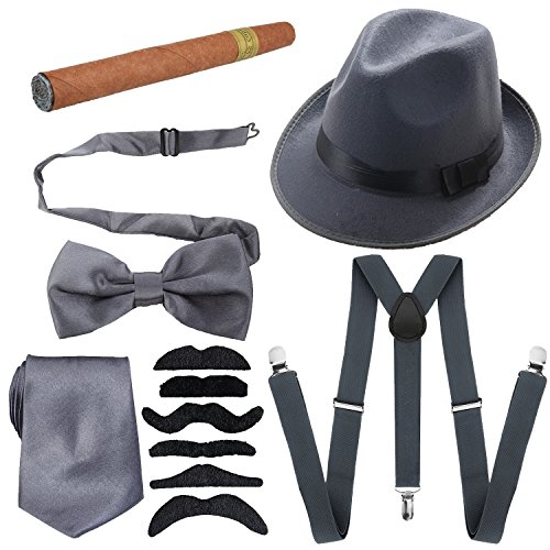 1920s Mens Accessories Hard Felt Wide Brim Panama Hat, Y-Back Elastic Suspenders & Pre Tied Bow Tie, Gangster Tie,Toy Cigar & Fake Mustache (OneSize, Grey)