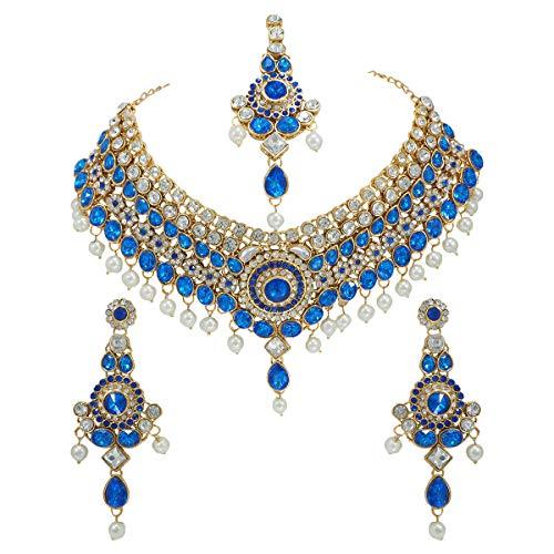 CROWN JEWEL گردنبند طلا و جواهر طلای قهوه ای بالیوود مد هندی مجموعه گوشواره جواهرات عروس مد هندی