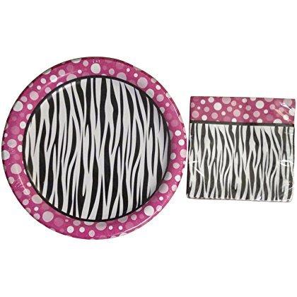 Party! Pink Polka Dot Zebra Print Paper Plates & Napkin Set -