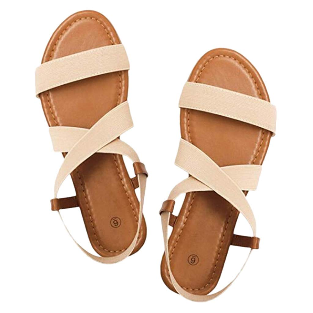 Sumen Women Chic Cross Strap Plat Beach Shoes Open Toe Student Sandals