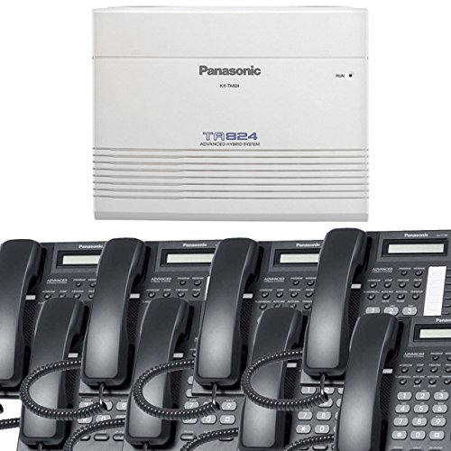 Panasonic Small Office Business Phone System Bundle Brand New includiing KX-T7730 8 Phones Black and KX-TA824 PBX Advanced Phone System (Voip Pbx Business)