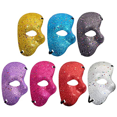 LBAFS 7pcs Halloween Christmas Party Plastic Mask Phantom Gold Half Face Mask for Dance Party Opera Performance
