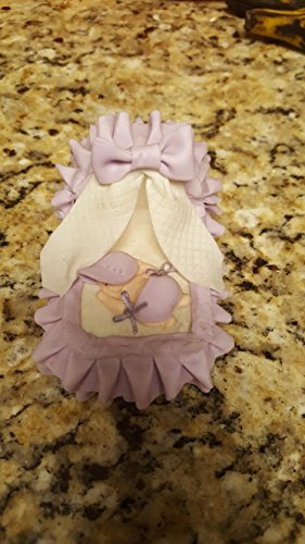 Cold Porcelain Bassinet Crib Cake Toppers 4 inches lavender