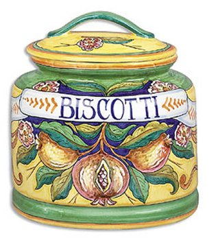 (Hand Painted Melograno Fresco Biscotti Jar - Handmade in Deruta )