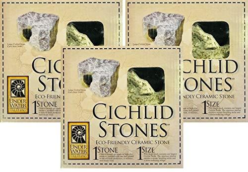 Underwater Galleries 3 Pack of Ceramic Cichlid Stones, Large (Underwater Galleries Cichlid Stone)