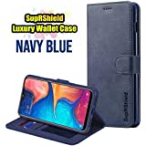 for Samsung Galaxy A20 LC IMEEKE Luxury Wallet Leather Card Holder Flip PU Magnetic Protective Heavy Duty Gel Shockproof Case Cover (Navy Blue)