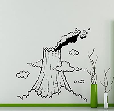 Volcano Vinyl Decal Mountain Landscape Wall Sticker Nature Landscape Home Interior Removable Wall Decor Bedroom Art 14(mnt)