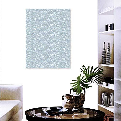 Anyangeight Ivory Blue Canvas Print Wall Art Star Pattern on