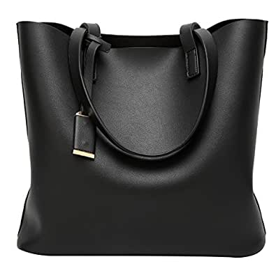 ilishop PU Leather Handbag Designer Pure Color Pures Large Capacity Shoulder Bag Classical Tote Bags (Black)