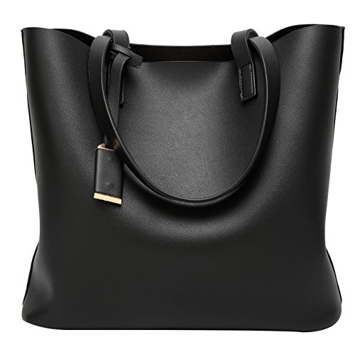 Women Fashion Color Large Capacity Bag Shoulder Tote Bag (Black) - 6