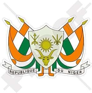 "NÍGER Nigerino Escudo de Armas Distintivo Cresta AFRICA Africano 100mm (4"") Pegatina de Vinilo Adhesivo, Sticker, Calcomania"