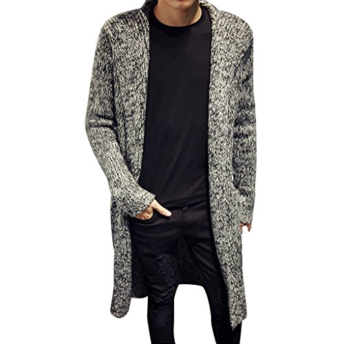 Stunner Men's Spring Slim With Hood Sweater Casual Long Cardigan CN L Grey