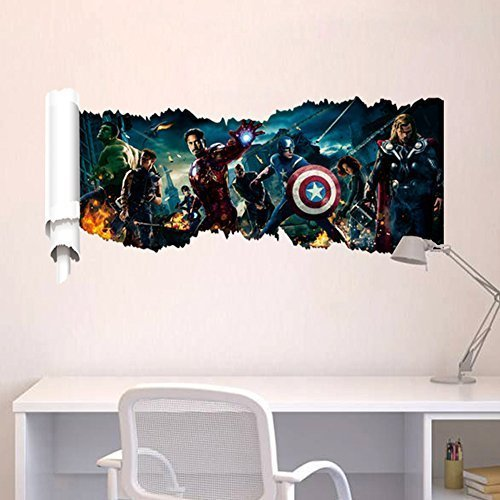 Chinatera The Avengers Assemble Movie Personalization Pattern Headboard Peel PVC Removable Room DIY Wall Sticker Decals Home Decor for Kids Baby Bedroom
