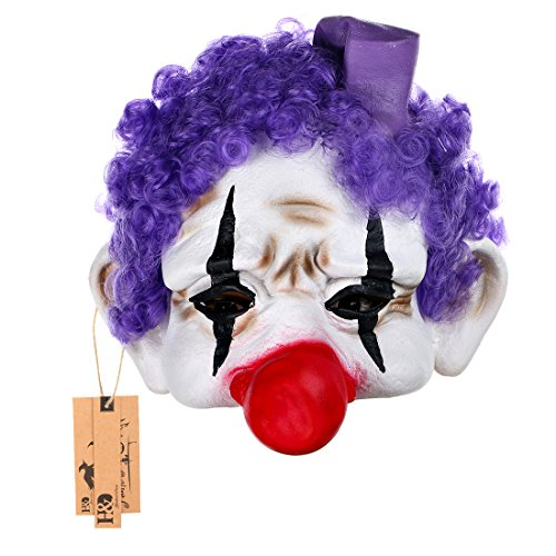 YUFENG Halloween Clown Masks,Creepy Scary or Funny Clown Latex Mask for Costume party or Cosplay (purple hair clown mask)