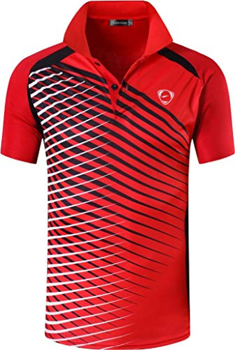 jeansian Men's Sport Quick Dry Short Sleeves Polo T-Shirt LSL243 Red M from jeansian