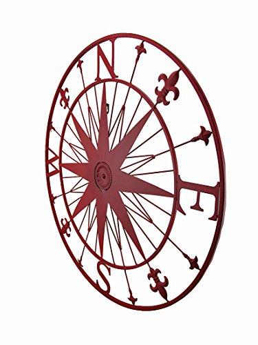 Zeckos Compass Rose Fleur De Lis Vintage Finish Metal Wall Hanging (Red) Metal Wall Sculptures Red