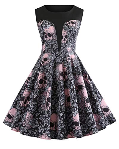 ZAFUL Women's 50s Vintage Floral Sleeveless Dress Spring Garden Swing Party Picnic A Line Cocktail Dress (2XL, Skull Print) for $<!--$25.99-->