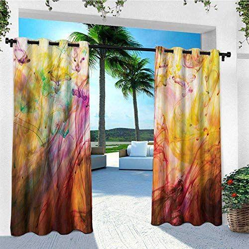 Modern, Outdoor Curtain Waterproof, Rainbow Water Painting Colored on a Canvas Painting like Artistic Vision Image Print, Outdoor Curtain panels for Patio Waterproof W72 x L108 Inch Multicolor ()