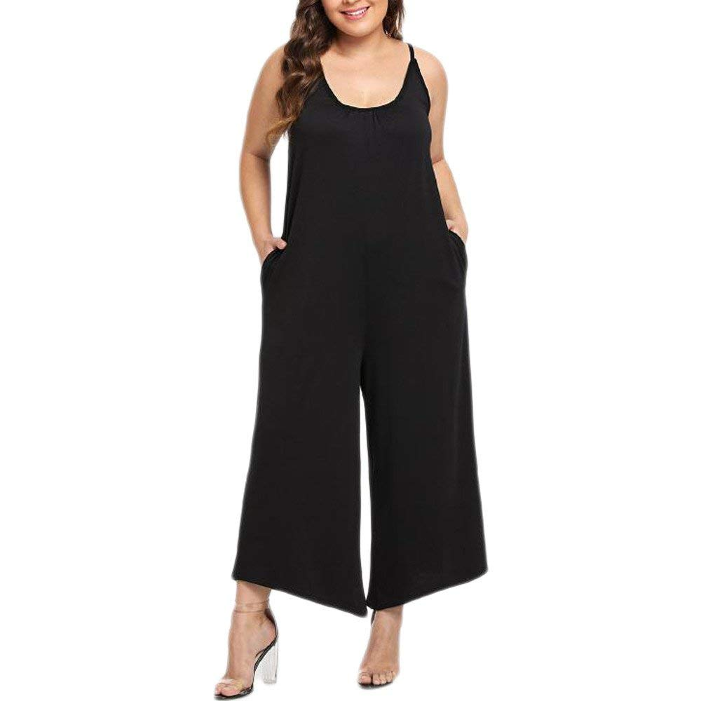 GWshop Fashion Jumpsuit Women Jumpsuits and Rompers Plus Size O-Neck Ssleeveless Jumpsuit Playsuit with Pocket Black 2XL by GWshop (Image #1)