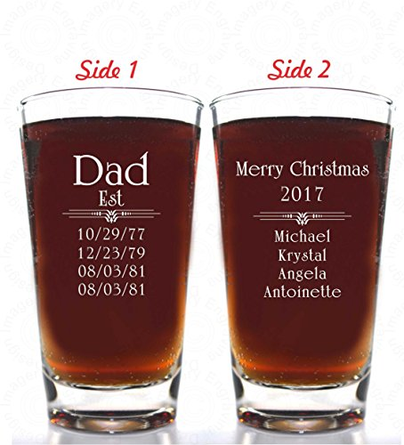 Personalized Four Pilsner Glass - Est Merry Christmas Beer Glass - Personalized up to 4 dates and Names