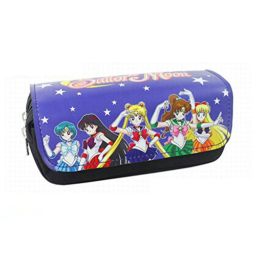 Sailor Moon Pencil Case PU Leather Stationery Bag (Blue & Black)