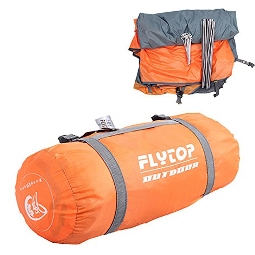 FLYTOP 3-4 Season 2-Person Double Layer Backpacking Tent Aluminum Rod Windproof Waterproof for Camping Hiking Travel Climbing - Easy Set Up (Orange-Single Person Tent)
