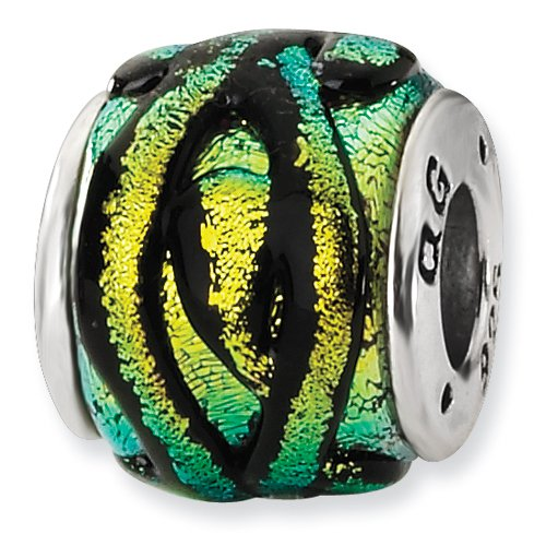 Sterling Silver Yellow Dichroic Glass Bead ()