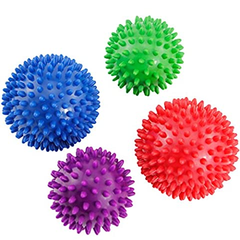 Esport Foot Hand and Back Massage Balls, Athletics High Density Spiky Massage Ball With Hard & Soft Combo For Trigger Point Therapy, Myofascial Release, Deep Tissue and Muscle Relief, Pack 4