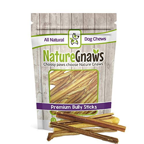 "Nature Gnaws Extra Thin Bully Sticks 5-6"" (25 Pack) - 100% All-Natural Grass-Fed Free-Range Premium Beef Dog Chews"