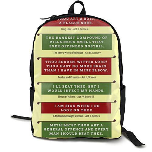 Durable Polyester Daypack Shakespeare's Insults Repertory Traveling & Camping Backpack - Large Capacity Multipurpose Anti-Theft Carry-On Bag for Girls ()