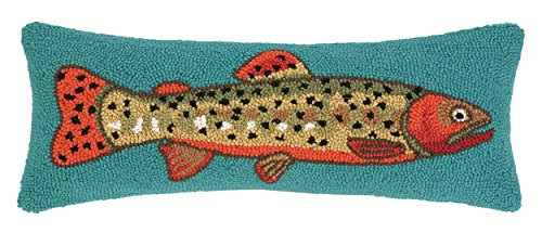 Home Hooked Trout - Peking Handicraft Trout Facing Right Hook Pillow, 8 by 22-Inch, Multicolor