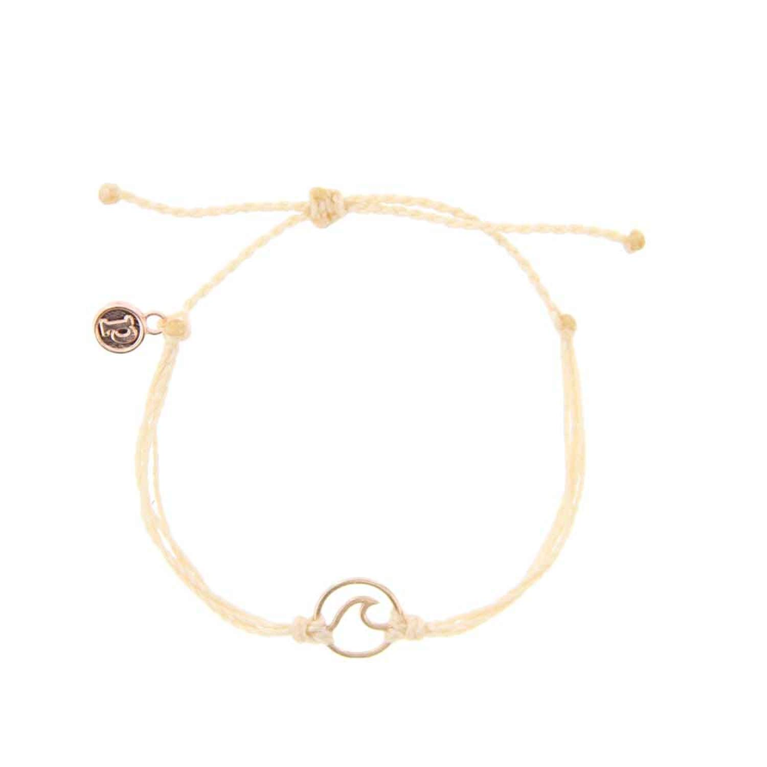 Pura Vida Rose Gold Wave OG Cream Bracelet - Plated Charm, Adjustable Band - 100% Waterproof