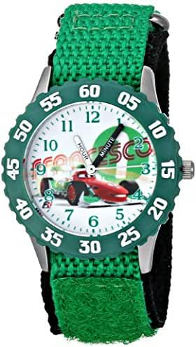 Disney Kids' Cars Francesco Bernoulli Stainless Steel Time Teacher Watch, W001587, Green Nylon Band