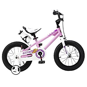 Royalbaby RB16B-6P BMX Freestyle Kids Bike, Boy's Bikes and Girl's Bikes with training wheels, Gifts for children, 16 inch wheels, Pink