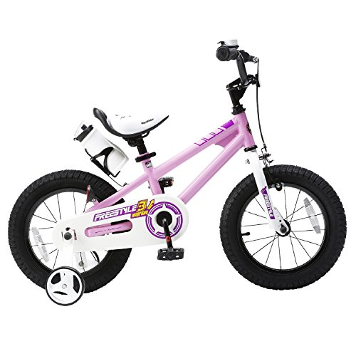 Royalbaby Freestyle Kid's Bike, 14 inch with Training Wheels, Pink, Gift for Boys and Girls