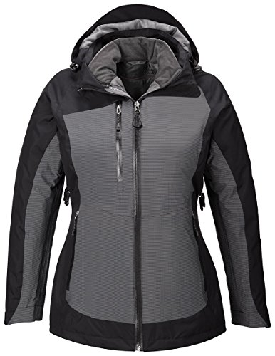 North End Sport Red Alta Ladies 3-In-1 Seam-Sealed Jacket, Black, XX-Large by Ash City - North End Sport Red
