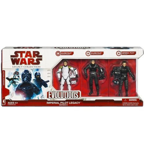 Star Wars, 2009 Legacy Collection, Exclusive Evolutions Set, Imperial Pilots Legacy Series II (2), 3-Pack, 3.75 Inches (Imperial V-wing Starfighter)